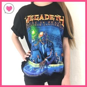 Tops - Megadeath 20th anniversary graphic rock band tee L